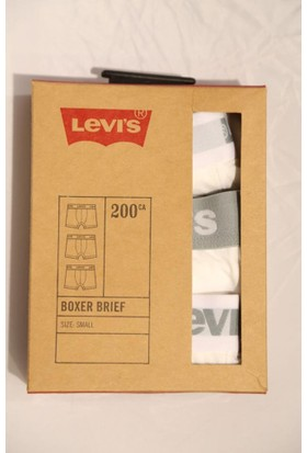 Levis Erkek Boxer 3 Lü Paket 77316-02 Beyaz - Beyaz - Beyaz