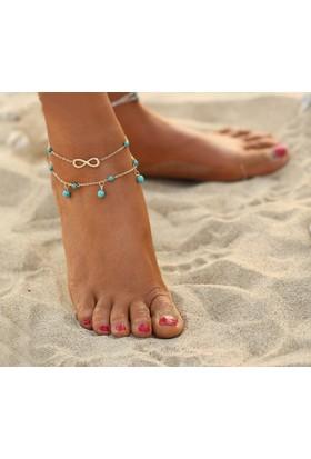 Hane14 Beach Infinity Mavi Boncuklu Sonsuz İşaretli Halhal Gold