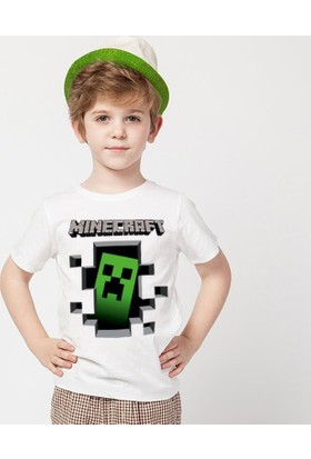 Tshirthane Minecraft Beyaz T-Shirt Mine Craft T-Shirt