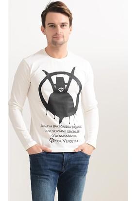 Tshirthane V For Vandetta Uzun Koll Ekru T-Shirt