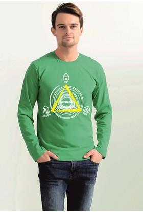 Tshirthane Bermuda Şeytan Üçgeni Füme Erkek Sweat-Shirt