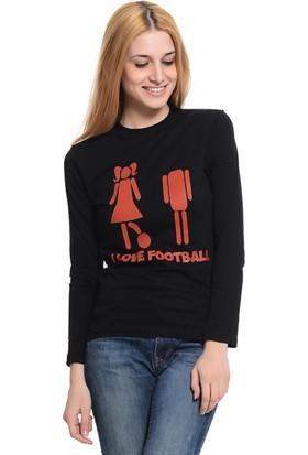 Tshirthane I Love Football Uzun Kollu T-Shirt