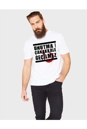 Tshirthane Unutma Çanakkale Geçilmez Beyaz T-Shirt