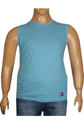 Fala Jeans Büyük Beden Yazlık Kolsuz Tshirt Mavi