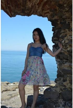 Espenica Kot Elbise Eteği Çiçek Desen Düğün Günlük Tatil Mezuniyet Elbise 3421