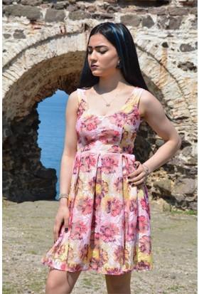 Espenica Çiçek Desenli Tül Elbise Günlük Mezuniyet Düğün Tatil Kısa Elbise 3567