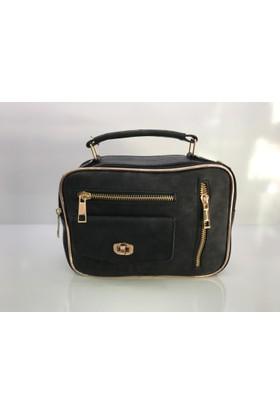 Çanta Stilim Model 6160 Nubuk Deri Siyah Renk Bayan Çantası