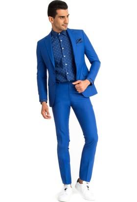 Kiğılı Düz Takım Elbise Turkuaz 125856