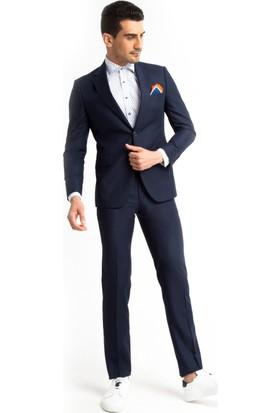 Kiğılı Slimfit Düz Takım Elbise Lacivert 125521