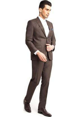 Kiğılı Desenli Takım Elbise Kahverengi 125527