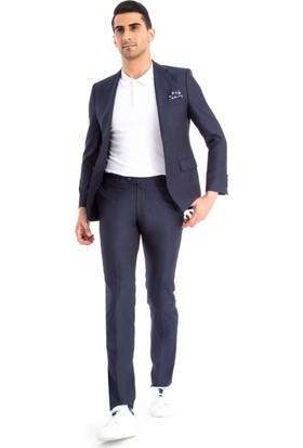 Kiğılı Slimfit Desenli Takım Elbise Mor 125537