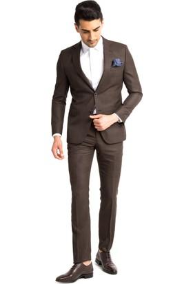Kiğılı Ekose Takım Elbise Kahverengi 125547