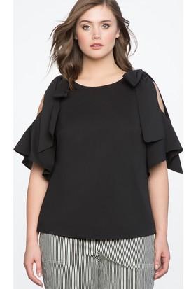 Melisita Erasmo Büyük Beden Siyah Bluz Ss01588Fb