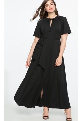 Melisita Dominga Büyük Beden Siyah Maxi Elbise Ss01709Eb