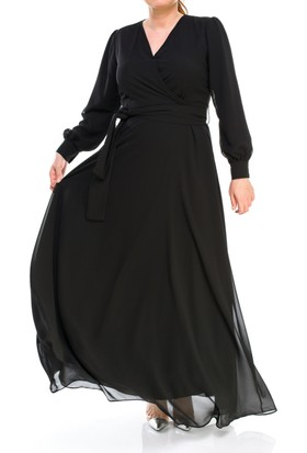 Melisita Deniz Büyük Beden Tesettür Elbise Siyah Ss01696Eb