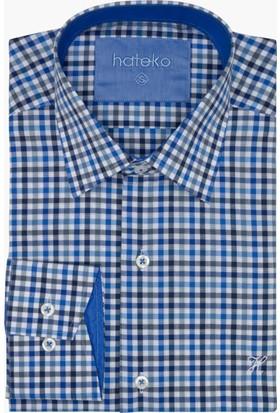 Hateko Mavi % 100 Pamuk Kareli Gömlek