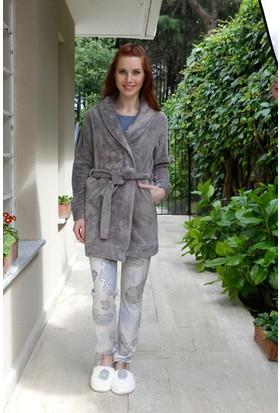 Hays Simply Kadın Welsoft Sabahlıklı 3'lü Penye Pijama Takımı