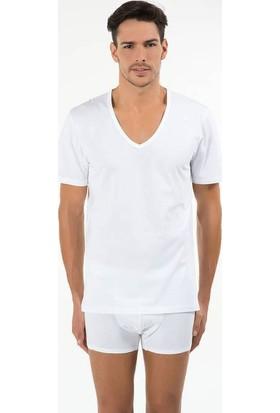 Kom 44TS10011 Enrico Erkek 2'li V Yaka T-Shirt