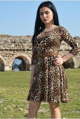 Espenica Leopar Desen Kısa Elbise Beli Kemerli Fakir Kol Günlük Düğün Elbise 3528