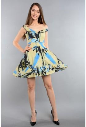 Espenica Desenli Kısa Elbise Günlük Tatil Mezuniyet Elbise 3371