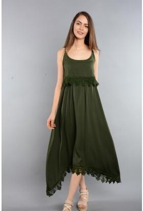 Espenica Kırınkıl Güpür Detaylı Uzun Elbise Yazlık Günlük Tatil Düğün Elbise 3445