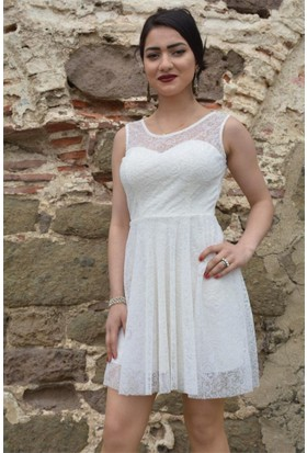 Espenica Flok Baskılı Tül Kısa Elbise Abiye Mezuniyet Balo Nikah Nişan Düğün Gece Elbise 3541