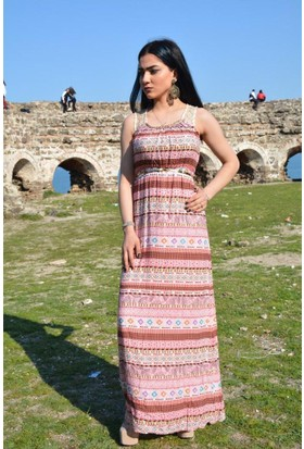 Espenica Uzun Etnik Desen Elbise Dantel Ve Zincir Detaylı Düğün Nikah Günlük Balo Nişan Nikah Elbise 3545