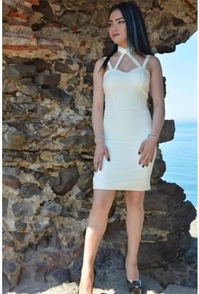 Espenica Boyundan Bağlamalı Kısa Elbise Düğün Mezuniyet Nişan Nikah Balo Gece Elbise 3573