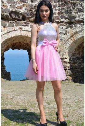 Espenica Pul Payetli Fiyonklu Tütü Kısa Elbise Abiye Mezuniyet Balo Düğün Nişan Nikah Elbise 3575