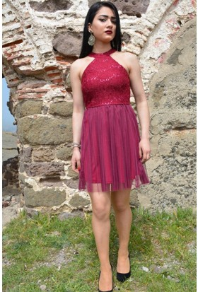 Espenica Nakış Pulpayet Kısa Tül Elbise Abiye Mezuniyet Balo Nikah Nişan Düğün Gece Elbise 3580