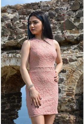 Espenica Dantel Kısa Elbise Beli Açık Sıfır Kol Düğün Mezuniyet Nişan Nikah Balo Gece Elbise 3574