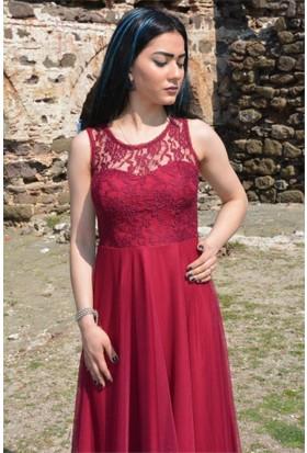 Espenica Uzun Elbise Dantel Tül Mezuniyet Abiye Düğün Nikah Balo Nişan Elbise 3380