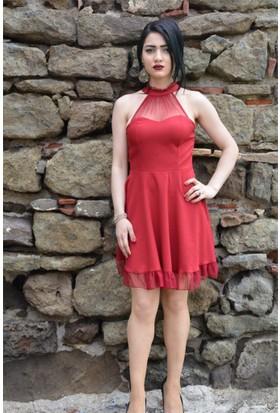 Espenica Kısa Elbise Tül Detaylı Yakası Fırfırlı Abiye Mezuniyet Balo Nikah Nişan Düğün Gece Elbise 3601