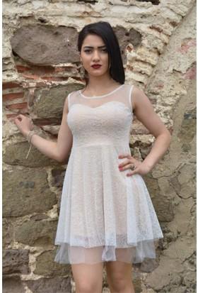 Espenica Flok Baskı Tül Detaylı Kısa Elbise Abiye Mezuniyet Balo Nikah Nişan Düğün Gece Elbise 3596