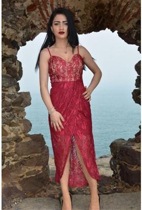 Espenica Dantel Elbise İp Askılı Abiye Balo Mezuniyet Nikah Nişan Düğün Gece Elbise 3594