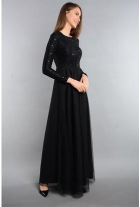Espenica Dantel Pulpayet Kollu Uzun Elbise Tül Tesettür Abiye Mezuniyet Nikah Düğün Nişan Balo Elbise 3603