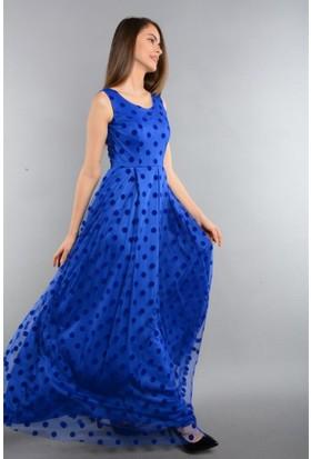 Espenica Puantiyeli Flok Tül Uzun Abiye Mezuniyet Balo Nikah Düğün Nişan Gece Elbise 3613