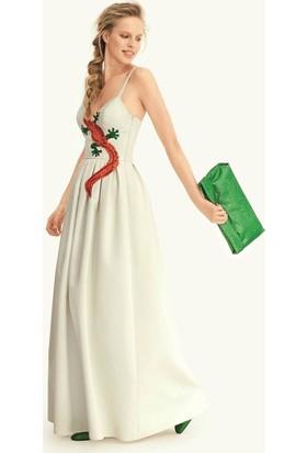 1dbc8c807e27f Roman Askılı Aplike Detaylı Beyaz Uzun Abiye Elbise