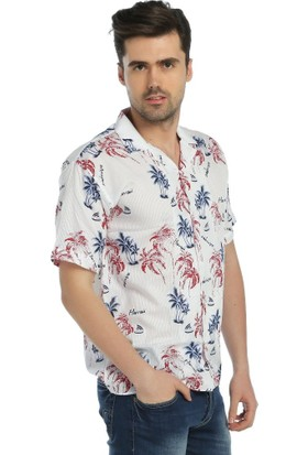 Palmiye Desenli Hawai Spor Gömlek