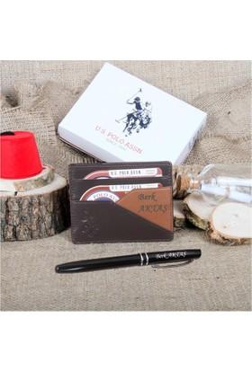 U.S Polo Assn. Kişiye Özel Erkek Deri Kartlık Kahve-Taba