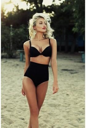 Angelsin Siyah Yüksek Bel Kaplı Bikini