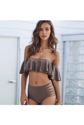 Angelsin Kahverengi Şık Bikini Takım