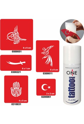One Spray Tattoo 7700825 Darkblue Geçici Sprey Dövme Seti