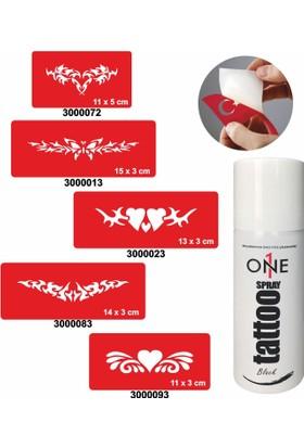 One Spray Tattoo 7703115 Siyah Geçici Dövme Seti