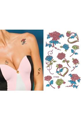 Hane14 Çiçekler & Güller Renkli Simli Geçici Dövme