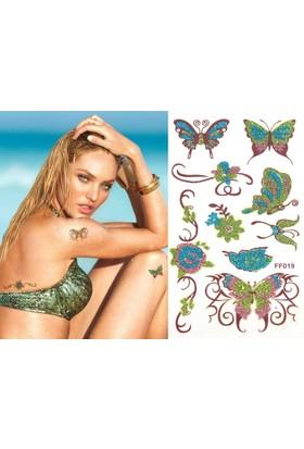 Hane14 Kelebekler & Çiçekler 2 Renkli Simli Geçici Dövme