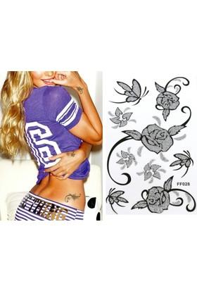 Hane14 Kelebekler & Çiçekler 4 Siyah Silver Simli Geçici Dövme