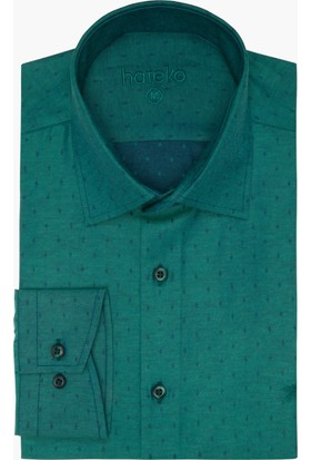Hateko Dar Kesim Nakış Desenli Yeşil Gömlek
