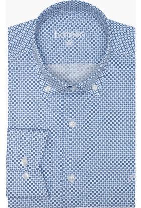 Hateko Dar Kesim Yaka Düğmeli Puantiye Desenli Mavi - Beyaz Pamuk Gömlek