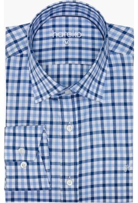 Hateko Dar Kesim Kareli Lacivert - Mavi - Beyaz Pamuk Gömlek